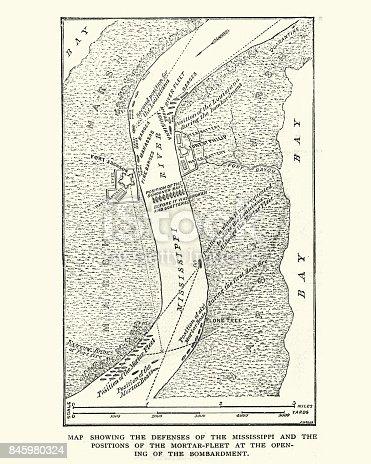 Vintage engraving of a American Civil War, Map of Defenses of River Mississippi