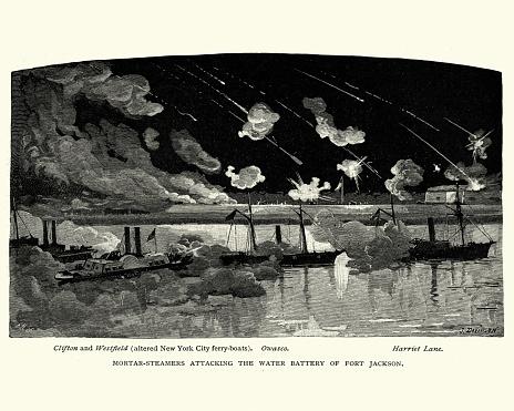 American Civil War, Mortar ships attacking Fort Jackson