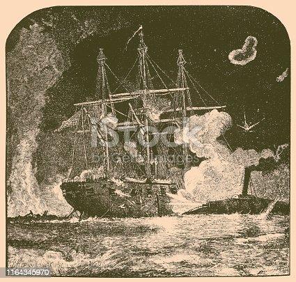 Illustration OF A American Civil War, Naval Battle USS Brooklyn Vs CSS Manassas