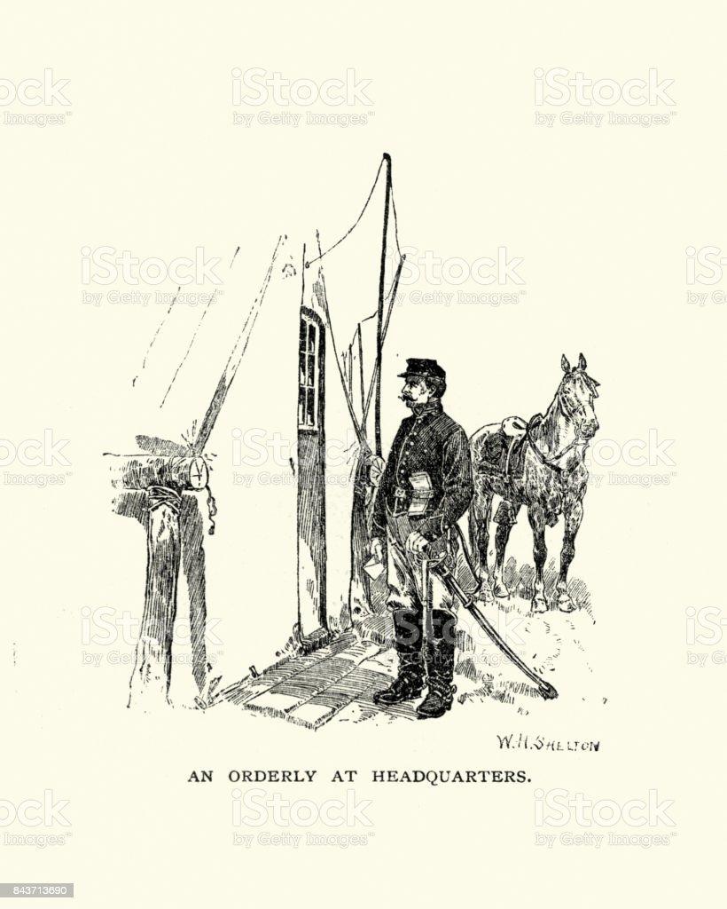 American Civil War, Orderly at Headquarters vector art illustration
