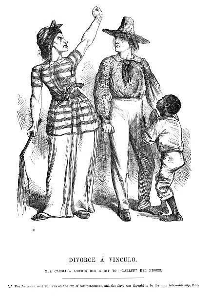 American Civil War Political Cartoon vector art illustration