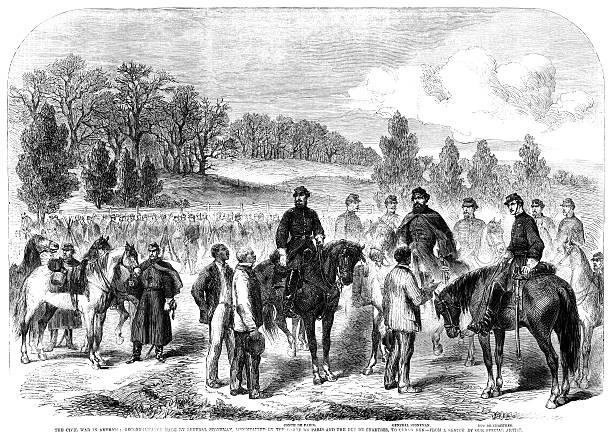 American Civil War reconnaissance (ILN 1862) vector art illustration