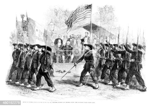 Vintage engraving showing Review of Federal Troops on the 4th of July by President Lincoln and General Scott, The Garibaldi Guard fiing passed. 1861