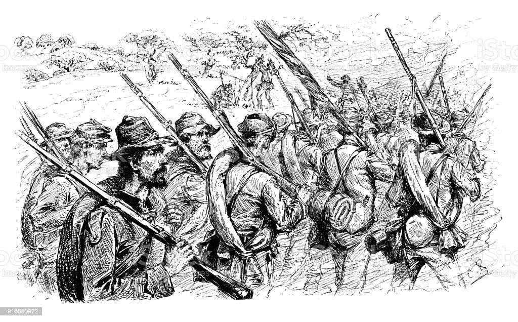 american civil war soldiers walking stock vector art more images