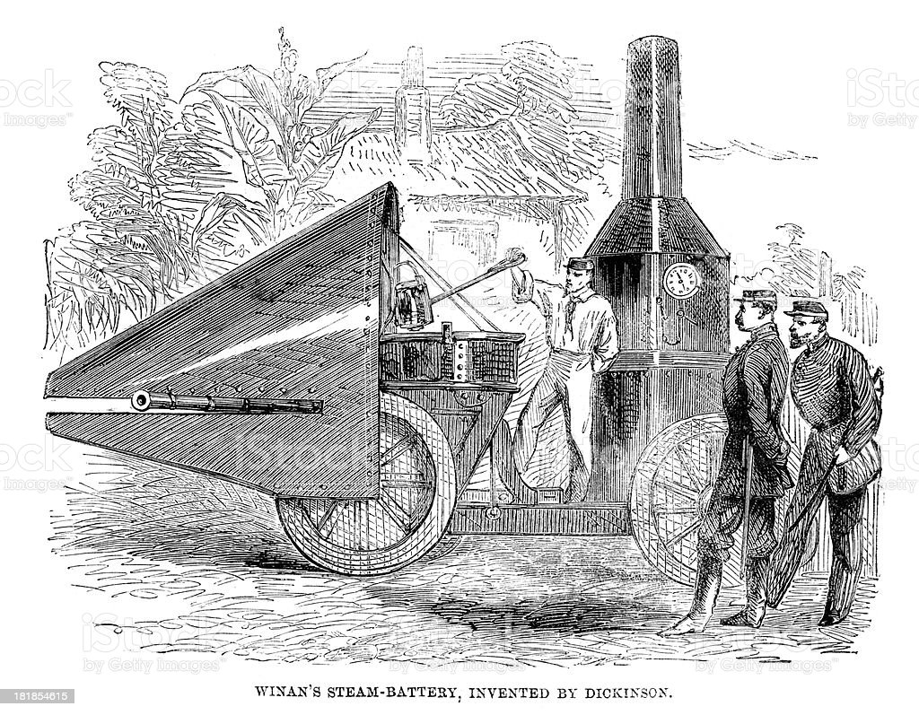 American Civil War - Steam Battery royalty-free american civil war steam battery stock vector art & more images of 1860-1869