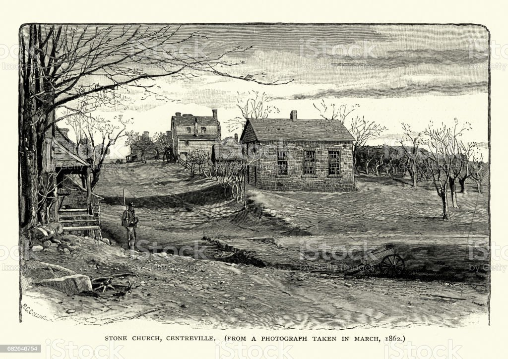 American Civil War - Stone Church, Centreville, Virginia vector art illustration