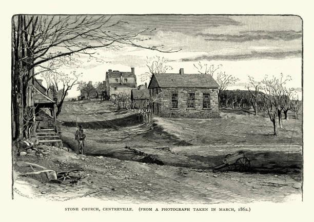 American Civil War - Stone Church, Centreville, Virginia vector art illustration