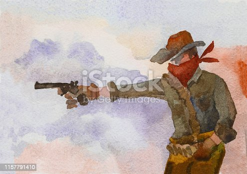 A cowboy in a hat fires a pistol against the backdrop of a smoky space. Wild West. Watercolor painting