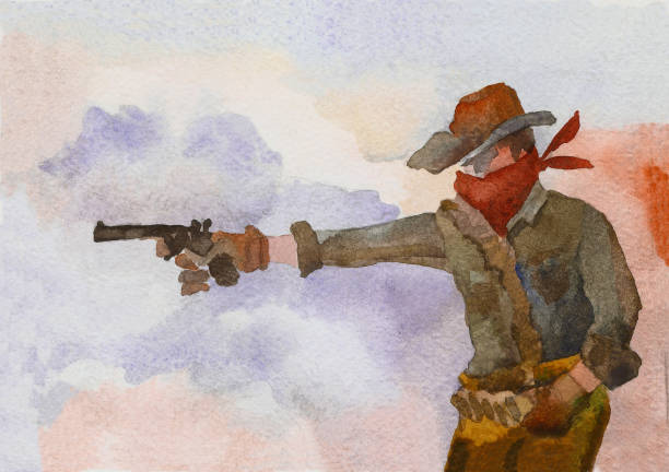 American cowboy in a hat shoots a pistol A cowboy in a hat fires a pistol against the backdrop of a smoky space. Wild West. Watercolor painting bandit stock illustrations