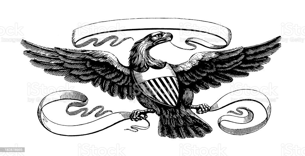 American Eagle Early Woodblock Illustrations Stock Vector Art More