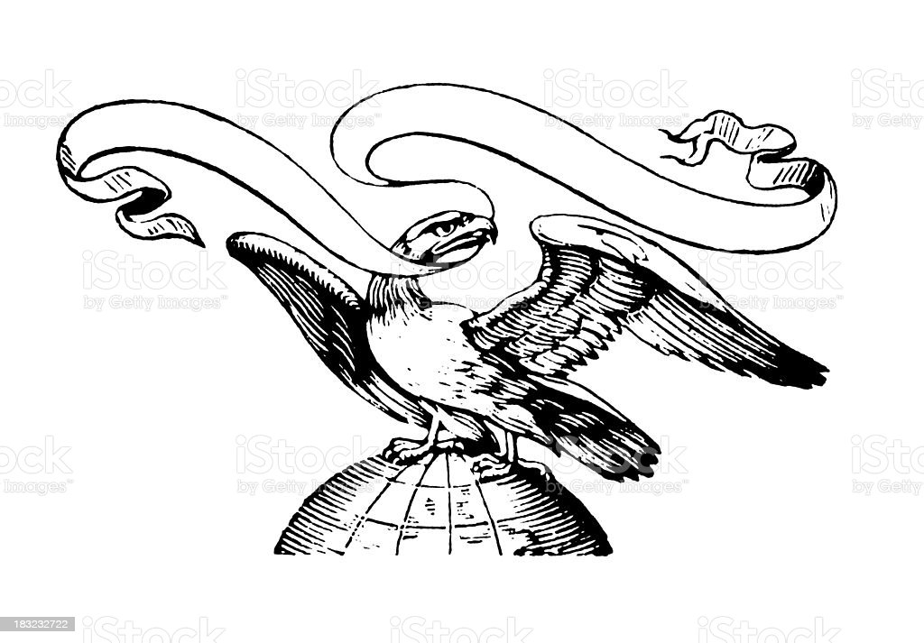 American Eagle | Early Woodblock Illustrations vector art illustration