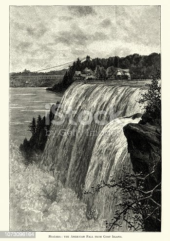 Vintage engraving of American Fall from Goat Island, Niagara Falls, 19th Century