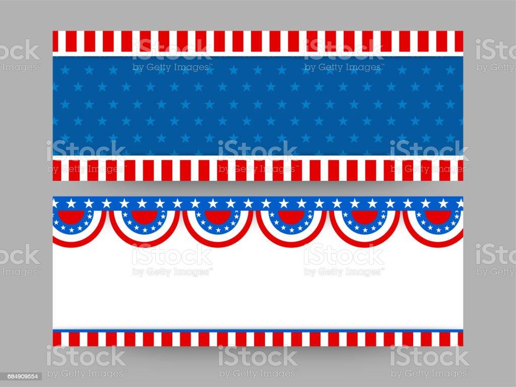 Farben der amerikanischen Flagge, legen Sie Website-Header für 4. Juli, Unabhängigkeitstag. Lizenzfreies farben der amerikanischen flagge legen sie websiteheader für 4 juli unabhängigkeitstag stock vektor art und mehr bilder von 4. juli