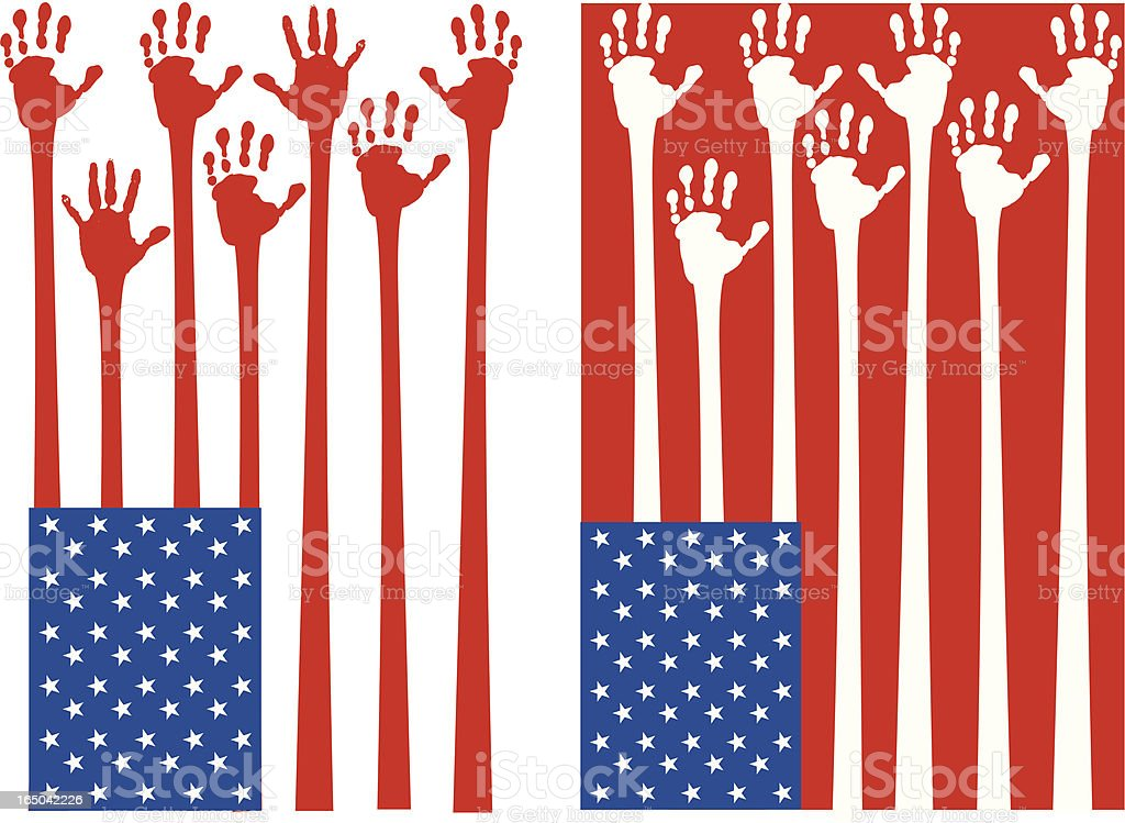 American Flag - Hands vector art illustration