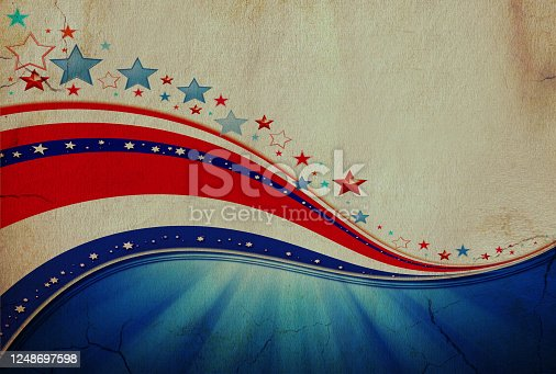 istock American flag, patriotic background made of old paper. 1248697598