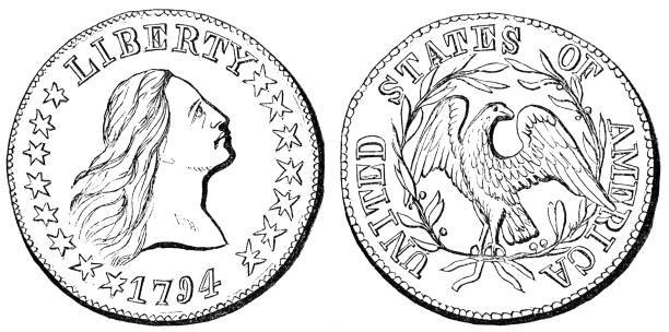 American Flowing Hair Silver Dollar, First Official US Dollar Coin (1794) vector art illustration