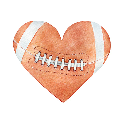 American football ball in heart silhouette. Red-brown color, white stripes, close up.