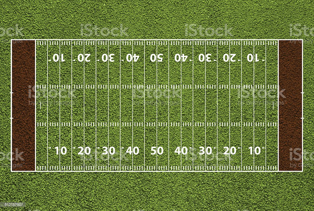 American football field with hash marks and yard lines. vector art illustration