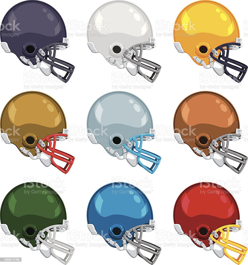 american football helmet color collection royalty free stock vector art
