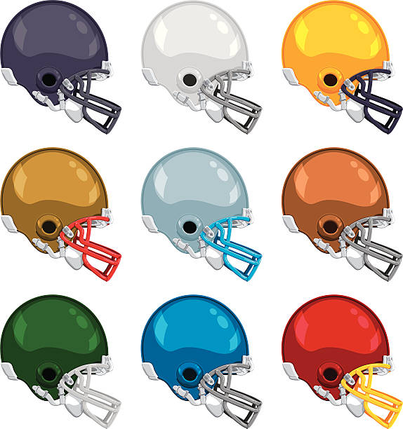 """American Football Helmet Color Collection """"Vector Illustration Collection of popular colored American Football Helmets. Helmet and facemask are each on different layers. The background is transparent. If you open the .eps-file with Photoshop, you'll get the objects on a transparent background for easy composition work. The colors in the .eps-file are ready for print (CMYK). Included files: EPS (v8) and Hi-Res JPG."""" american football stock illustrations"""