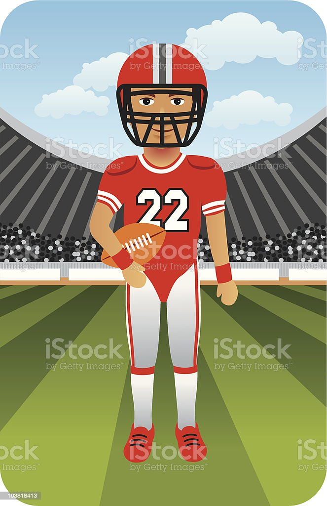 American Football Player on the Field royalty-free american football player on the field stock vector art & more images of american football - sport