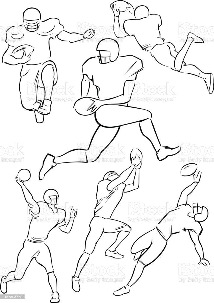 American Football playing figures 4 vector art illustration