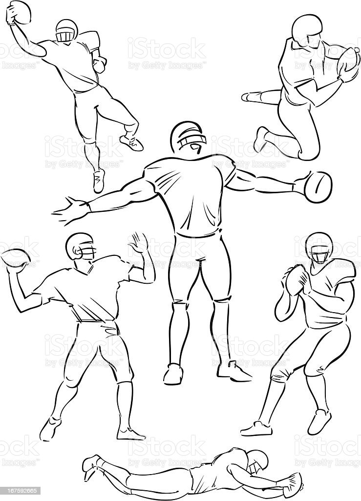 American Football playing figures 5 vector art illustration
