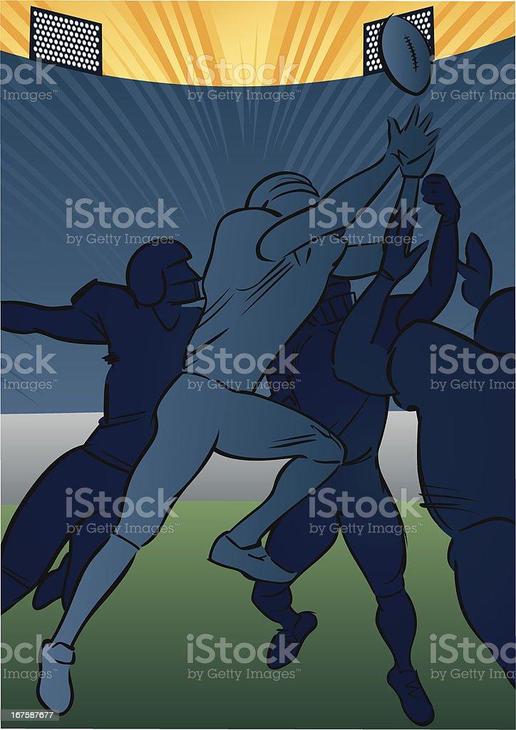 American football scene - Receiver catching vector art illustration