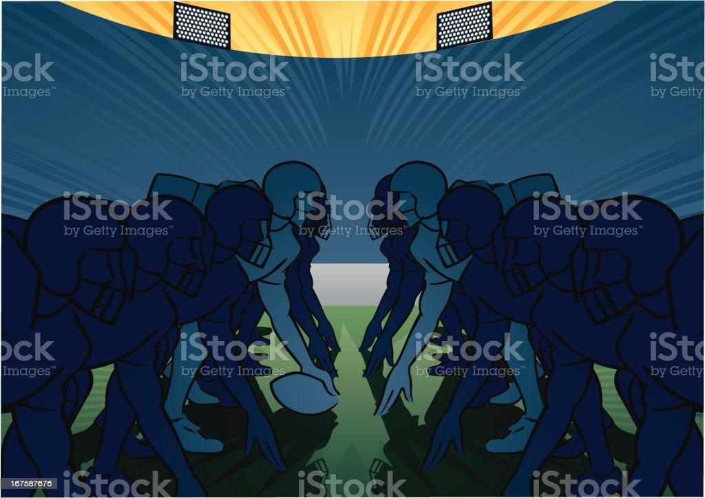 American football scene - Scrimmage vector art illustration