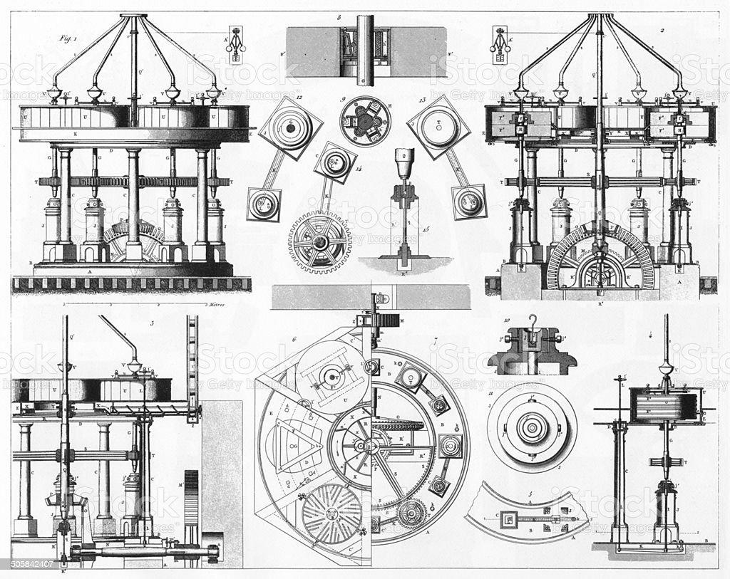 American Grinding Mill Engraving vector art illustration