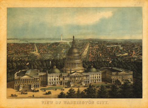 Antique print of the Capitol in Washington, D.C. Engraving published by E.Sachse, Baltimore in 1857. Photo by N. Staykov (2007)