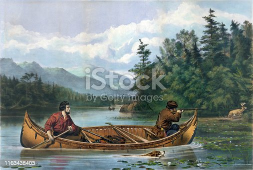 Vintage illustration features two men in a canoe, one man taking aim with a rifle at a deer on shore.