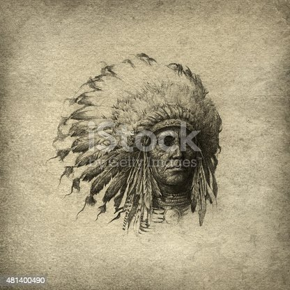 Indian chief wearing headdress. Handmade drawing, pencil/ink on paper & post processing.
