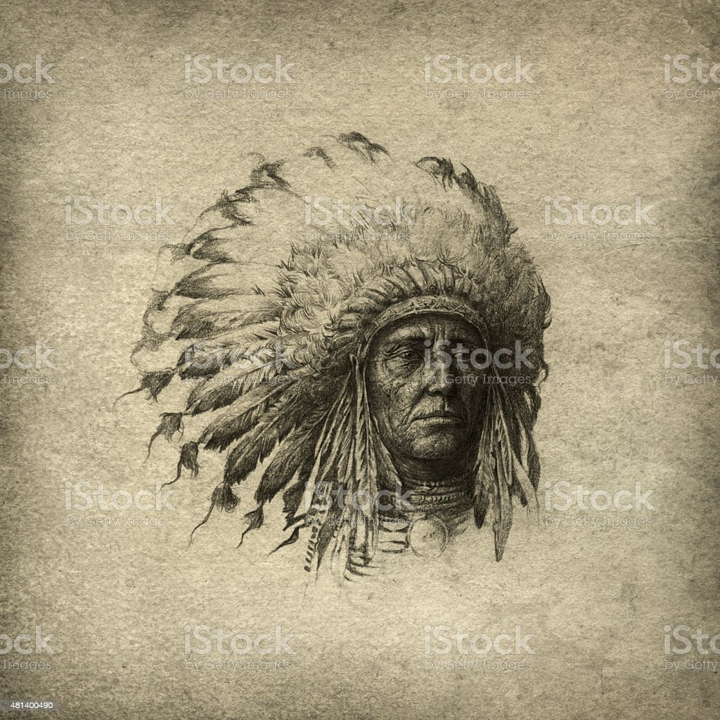 American Indian chief vector art illustration