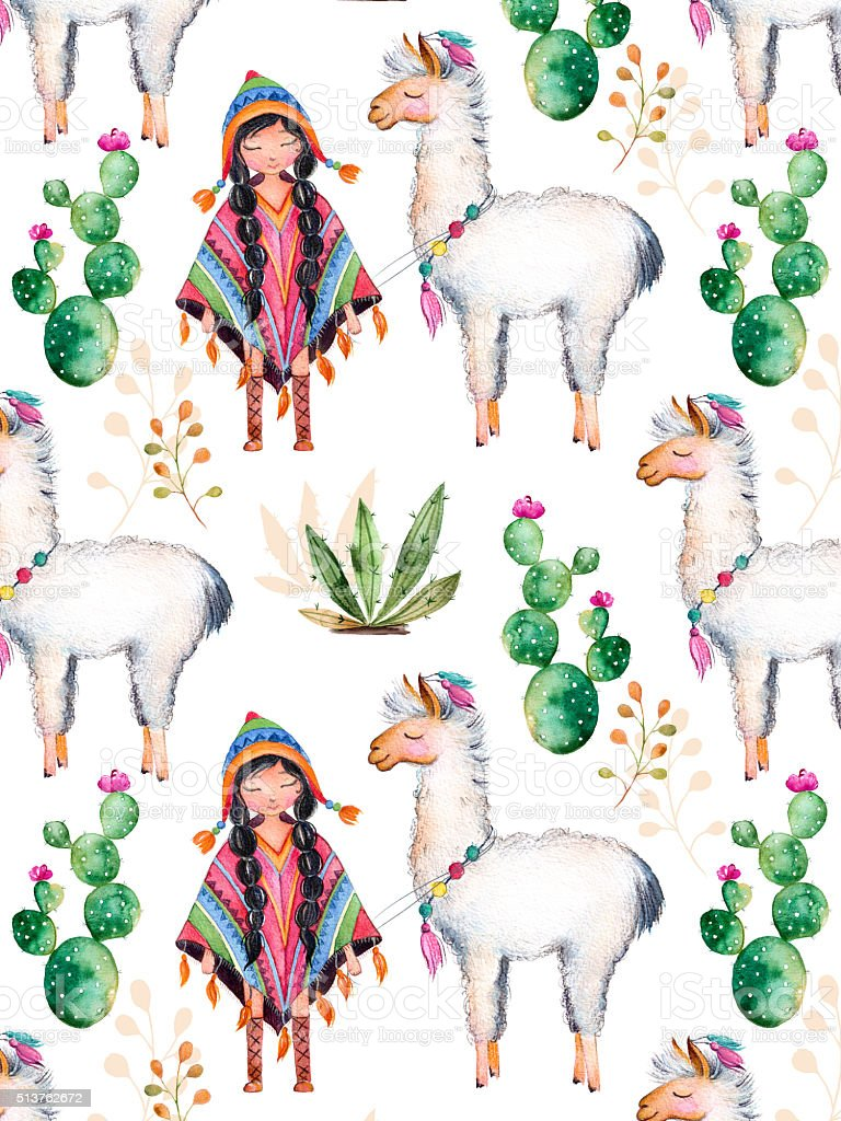 American Indian girl in traditional poncho and lama vector art illustration