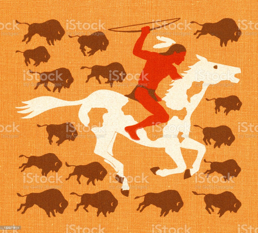 American Indian Man With Buffalo vector art illustration