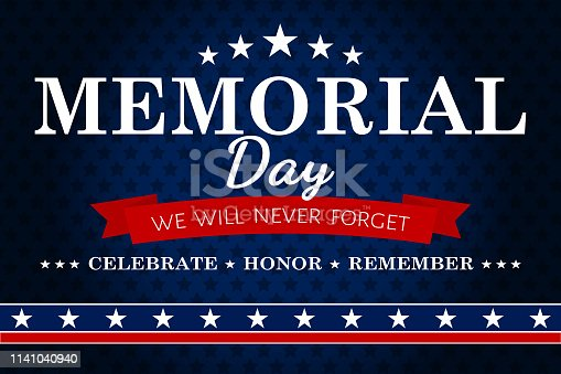 Celebrative texts for USA Memorial Day on American style backdrop with national flag elements.