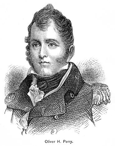 American naval commander Oliver Hazard Perry engraving 1895