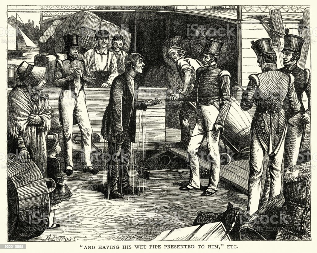 American Notes, Soaking wet after falling in the river, 1840s vector art illustration