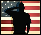 Vector silhouette of an American Airman against a vintage colored stars and stripes flag.