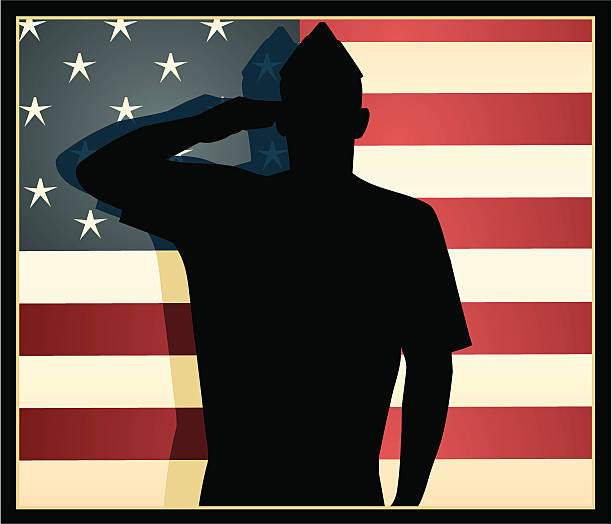 American Patriot Vector silhouette of an American Airman against a vintage colored stars and stripes flag. saluting stock illustrations