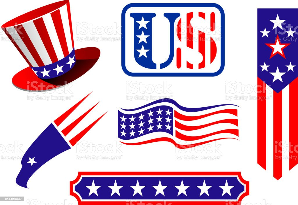 American patriotic symbols vector art illustration