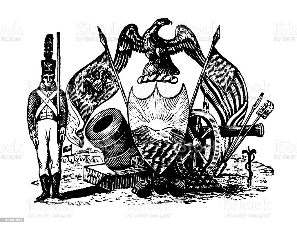 American Patriotic Vignette | Early Woodblock Illustrations vector art illustration