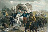 istock American Pioneers Crossing the Plains in Covered Wagons 1163275250