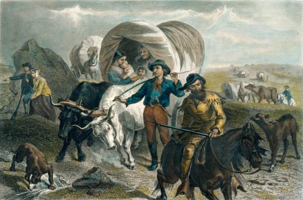 ilustrações, clipart, desenhos animados e ícones de pioneiros americanos que cruzam as planícies em vagões cobertos - explorador