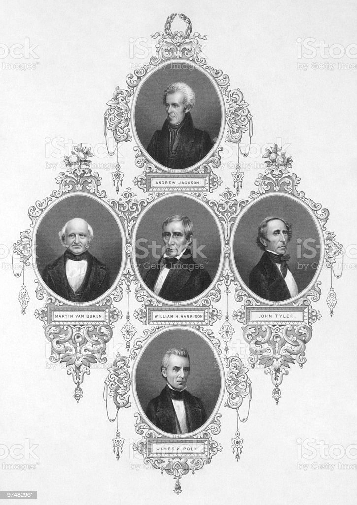 American presidents from 1829 to 1849 vector art illustration