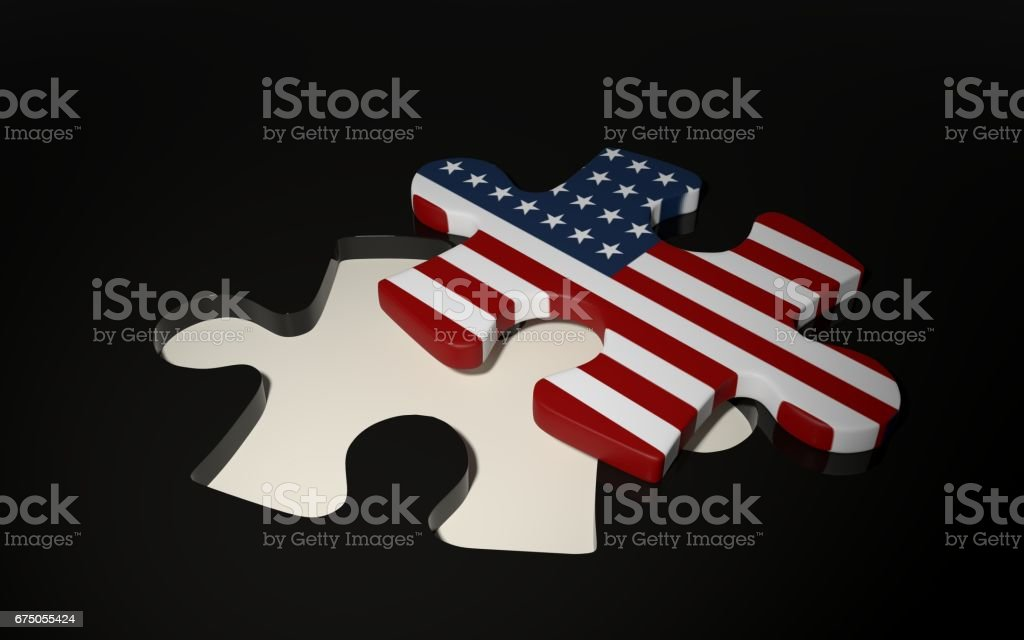 American Puzzle Piece - Flag of USA. vector art illustration