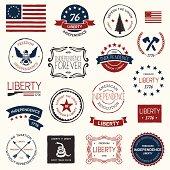 """""""Vintage American revolutionary war badges, labels and designs."""""""