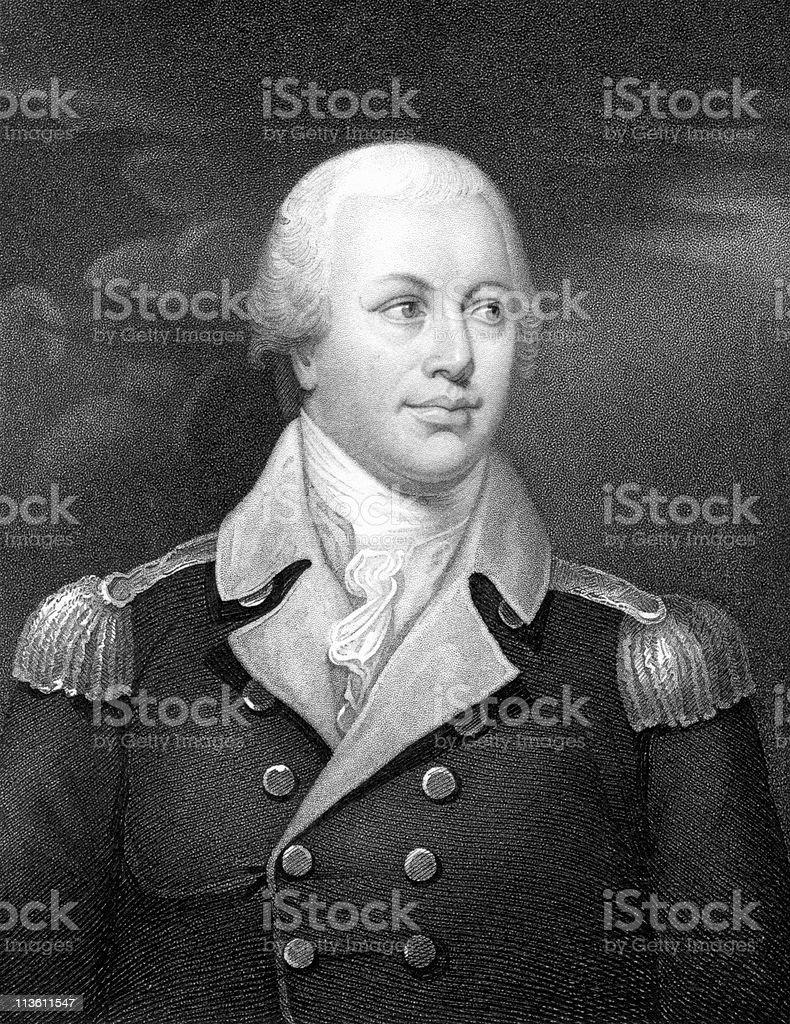 American Revolution Portrait of Major General Nathaniel Greene royalty-free stock vector art