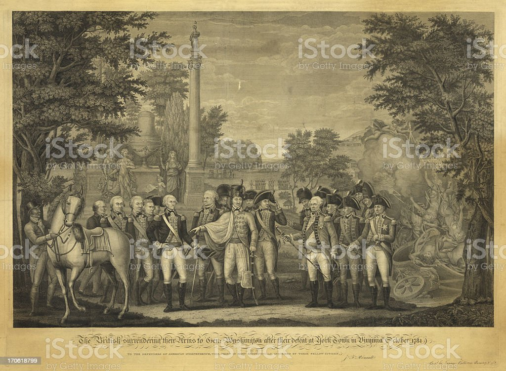 American Revolution Print 1819 royalty-free stock vector art